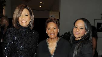 BEVERLY HILLS, CA - FEBRUARY 12:  (EXCLUSIVE COVERAGE) (L-R) Singer Whitney Houston, Singer Dionne Warwick and Bobbi Kristina Brown arrives at the 2011 Pre-GRAMMY Gala and Salute To Industry Icons Honoring David Geffen at Beverly Hilton on February 12, 2011 in Beverly Hills, California.  (Photo by Larry Busacca/Getty Images For The Recording Academy)