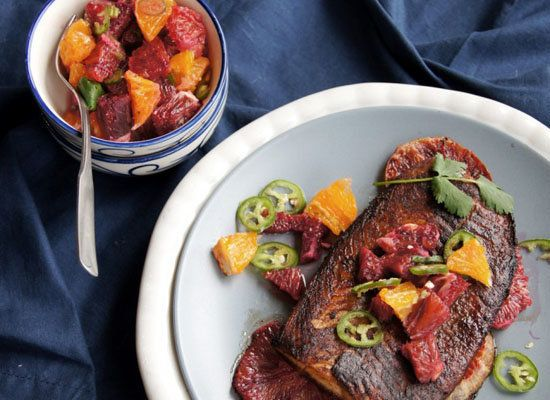 "<strong>Get the <a href=""http://www.ecurry.com/blog/seafood/glazed-salmon-with-blood-orange-salsa/"">Glazed Salmon with Blood"