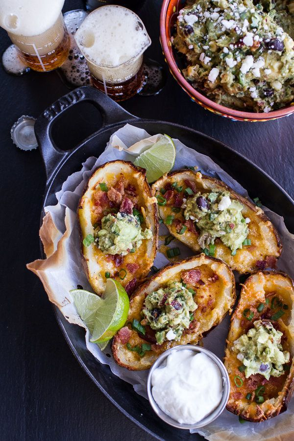 """<strong>Get the <a href=""""http://www.halfbakedharvest.com/fully-loaded-potato-skins-chipotle-southwest-guacamole/"""" target=""""_bl"""