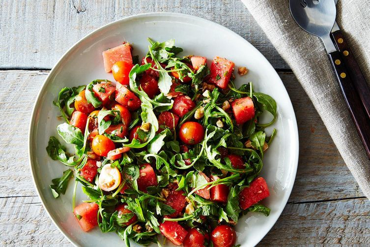 "<strong>Get the <a href=""http://food52.com/recipes/22765-watermelon-tomato-and-four-herb-salad"" target=""_blank"">Watermelon, T"