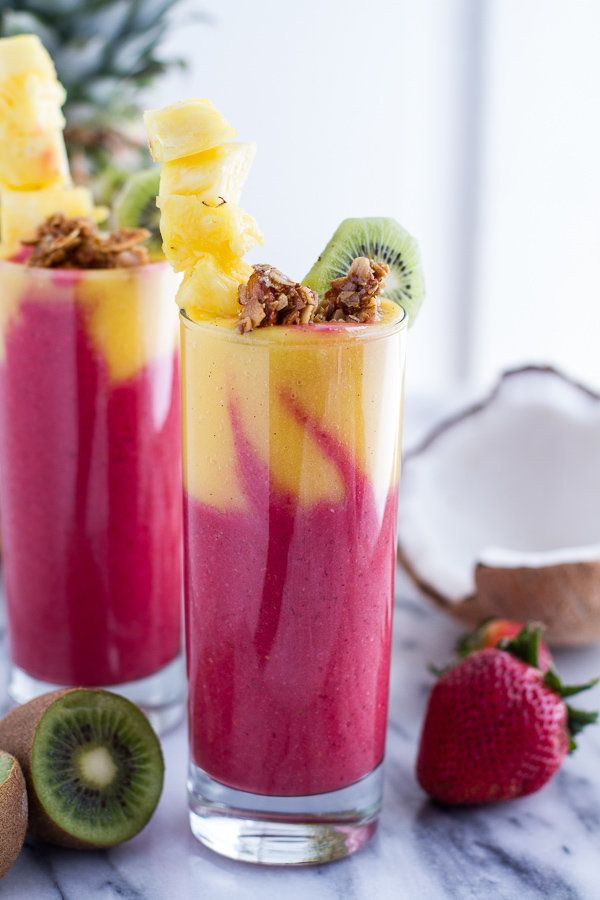 "<strong>Get the <a href=""http://www.halfbakedharvest.com/tropical-fruit-breakfast-smoothie/"" target=""_blank"">Tropical Fruit B"