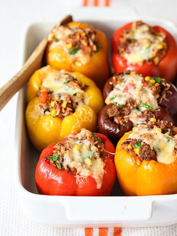 "<strong>Get the <a href=""http://www.foodiecrush.com/2014/09/stuffed-bell-peppers-recipe/"" target=""_blank"">Stuffed Bell Pepper"