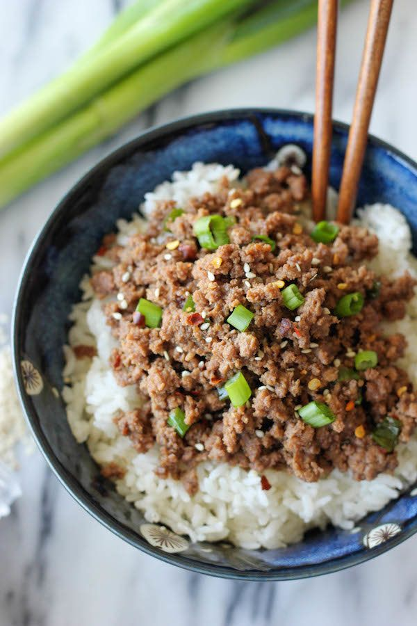 "<strong>Get the <a href=""http://damndelicious.net/2013/07/07/korean-beef-bowl/"" target=""_blank"">Korean Beef Bowl recipe</a> f"