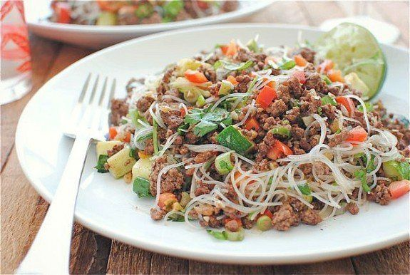 "<strong>Get the <a href=""http://bevcooks.com/2012/06/spicy-beef-and-basil-with-vermicelli-noodles/"" target=""_blank"">Spicy Bee"