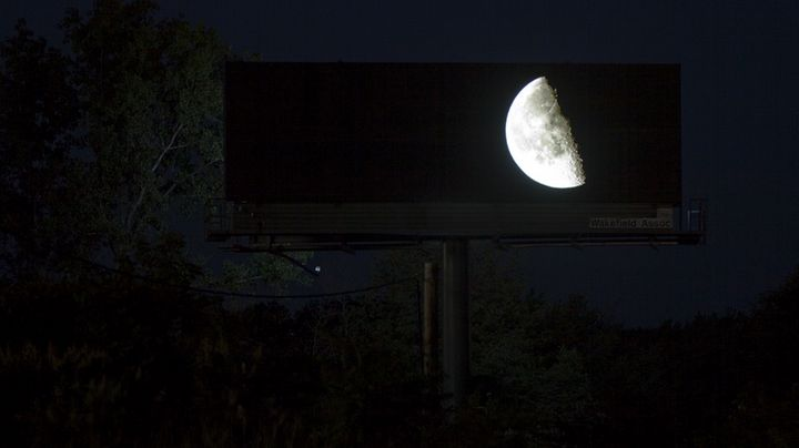 One of the billboards at night.