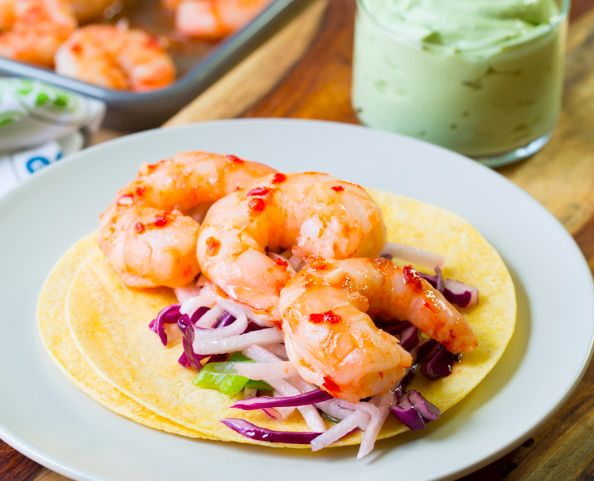 "<strong>Get the <a href=""http://www.aspicyperspective.com/2014/05/shrimp-tacos.html"" target=""_blank"">Sweet Chile Shrimp Tacos"