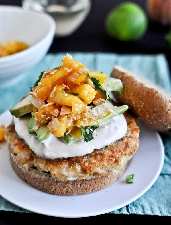 """<strong>Get the <a href=""""http://www.howsweeteats.com/2012/07/shrimp-burgers-with-chipotle-cream-and-coconut-peach-salsa/"""" tar"""