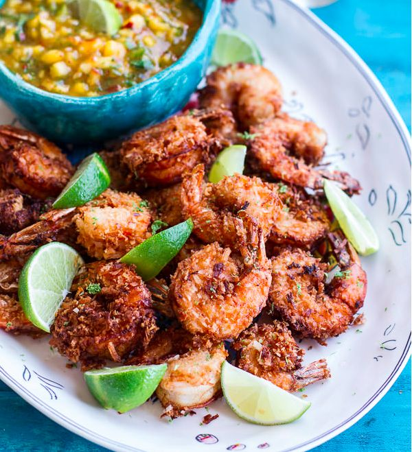 """<strong>Get the <a href=""""http://www.halfbakedharvest.com/coconut-lime-fried-shrimp-fiery-mango-peach-jalapeno-sauce/"""" target="""