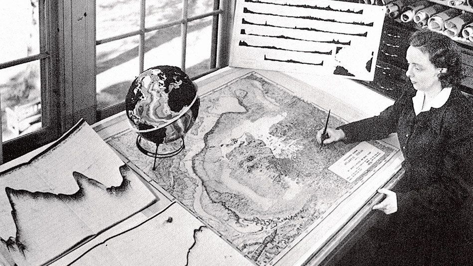 <strong>Field:</strong> Oceanographic cartography  <br><br><strong>Big Deal:</strong> A keen mapmaker, Tharp worked to plot t
