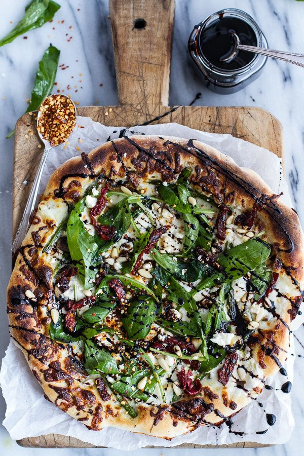 """<strong>Get the <a href=""""http://www.halfbakedharvest.com/spring-time-mushroom-asparagus-white-burrata-cheese-pizza-balsamic-d"""