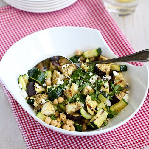 "<strong>Get the <a href=""http://www.cookincanuck.com/2013/05/grilled-eggplant-zucchini-salad-recipe-with-feta-chickpeas-mint/"