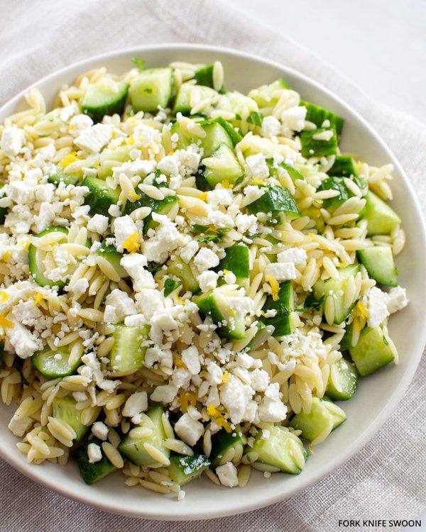 """<strong>Get the <a href=""""http://www.forkknifeswoon.com/food-drink/side-dishes/2013/05/lemony-orzo-pasta-salad-with-cucumber-a"""