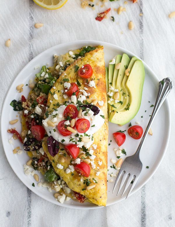 "<strong>Get the <a href=""http://www.halfbakedharvest.com/mad-greek-quinoa-dinner-omelets-feta-tzatziki/"" target=""_blank"">Gree"