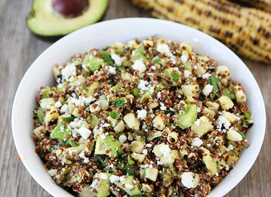"<strong>Get the <a href=""http://www.twopeasandtheirpod.com/charred-corn-avocado-quinoa-salad/"" target=""_blank"">Quinoa Salad w"