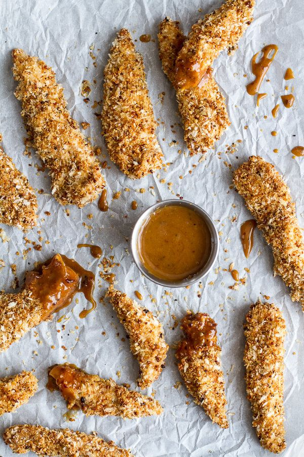 "<strong>Get the <a href=""http://www.halfbakedharvest.com/quinoa-crusted-chicken-strips-bbq-honey-mustard/"" target=""_blank"">Qu"