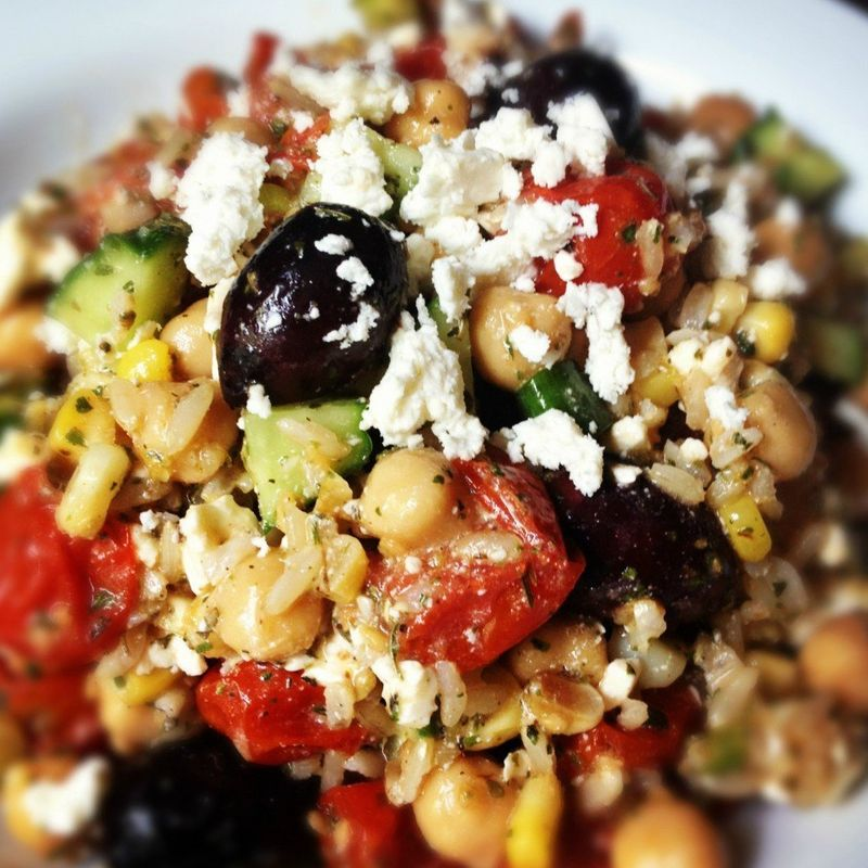 Get the Brown Rice Greek Salad recipe from The Lemon Bowl