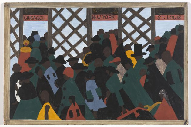 """Jacob Lawrence. The Migration Series.  Panel 1: """"During the World War there was a great migration North by Southern Negroes."""""""