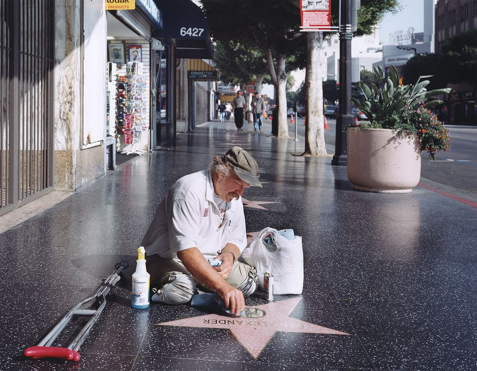 Legless star cleaner on the Hollywood Walk of Fame in 2005.