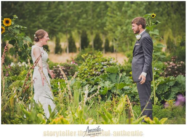 """<span style=""""color: #222222;"""">""""Stephanie and Tim's first look in the flower garden at Green Villa Barn in Independence, Orego"""