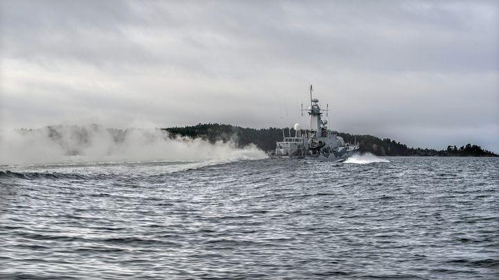 <span>Swedish corvette HMS Stockholm patrols at Jungfrufjarden in the Stockholm archipelago on October 20, 2014.&nbsp;</span>
