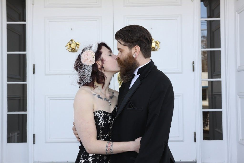 Chelsea and Barry Lesnick on their wedding day, which took place at the family funeral home.