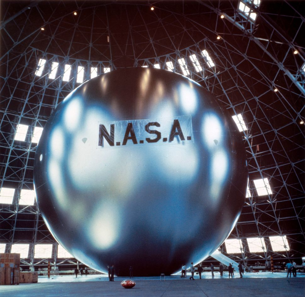 Echo 1, a spherical balloon with a metalized skin, was launched by NASA on August 12, 1960. (Photo by SSPL/Getty Images)