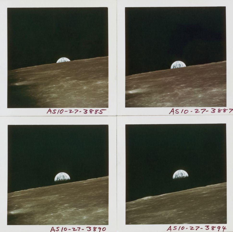 Four views of Earth rising above the lunar horizon, photographed by the crew of the Apollo 10 Lunar Module, while in lunar or