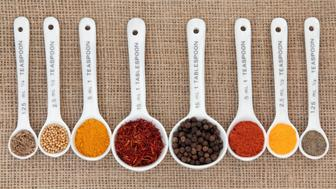 spice selection in white china...