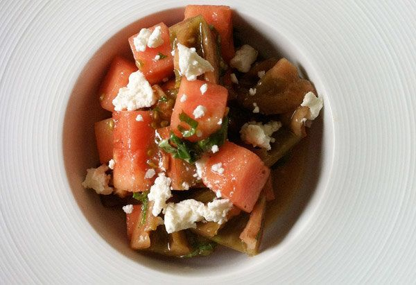 "Since watermelon's season coincides with heirloom tomatoes', Shauna Ahern, a.k.a. <a href=""http://glutenfreegirl.com/"" target"