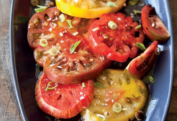 Even if you use just one or two varieties of heirloom tomatoes -- which come in a dazzling array of colors and have names lik