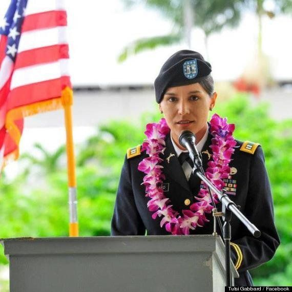 Gabbard speaks at Veterans Memorial Day Hilo in 2012. In January, she became the first Hindu-American to become a member of C