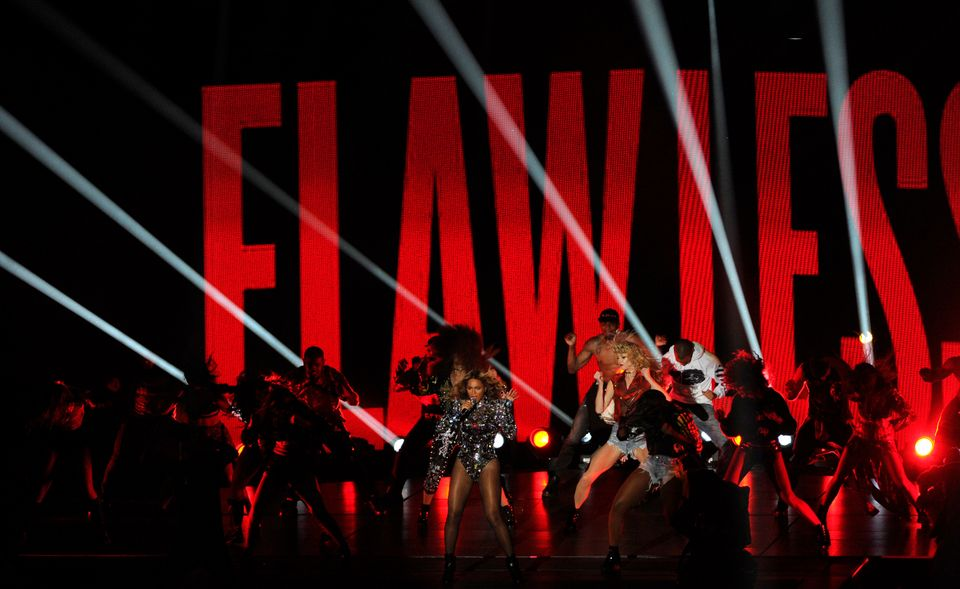 Beyonce performs at the MTV Video Music Awards at The Forum on Sunday, Aug. 24, 2014, in Inglewood, Calif. (Photo by Chris Pi