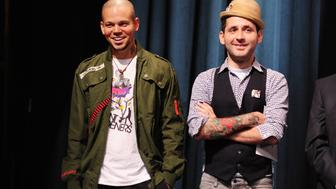 Residente (René Pérez Joglar) (L) and Visitante (Eduardo José Cabra Martinez) of the urban/hip-hop duo Calle 13 react at the announcement of nominations for the 12th Annual Latin Grammy Awards in Hollywood, California September 14, 2011.   Calle 13 received a record ten nominations including album of the year and record of the year.  The 12th Annual Latin Grammy Awards will take place November 10 in Las Vegas.   AFP PHOTO / ROBYN BECK (Photo credit should read ROBYN BECK/AFP/Getty Images)