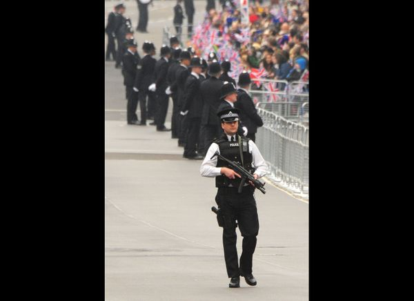Police security during the royal wedding. (WireImage photo)