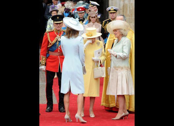Queen Elizabeth sheds a tear after the wedding of her grandson, Prince William.   (AFP photo)