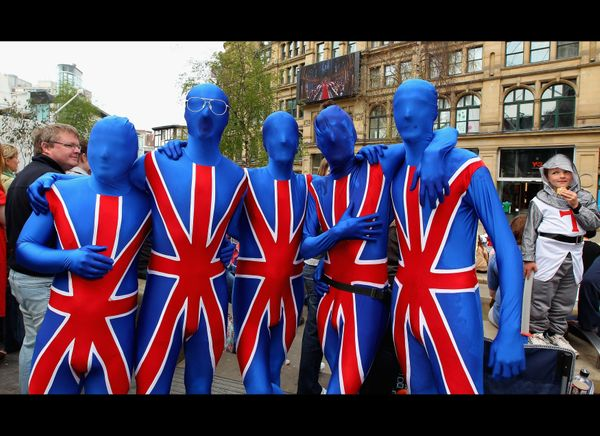 Royal wedding fans dress for the occasion. (Getty photo)