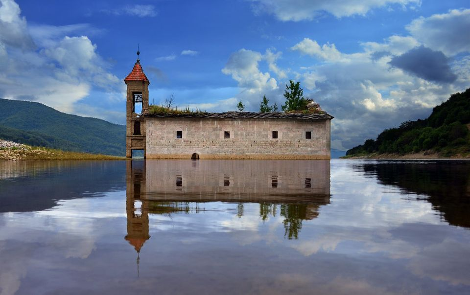 This abandoned church is located in Mavrovo, Macedonia.