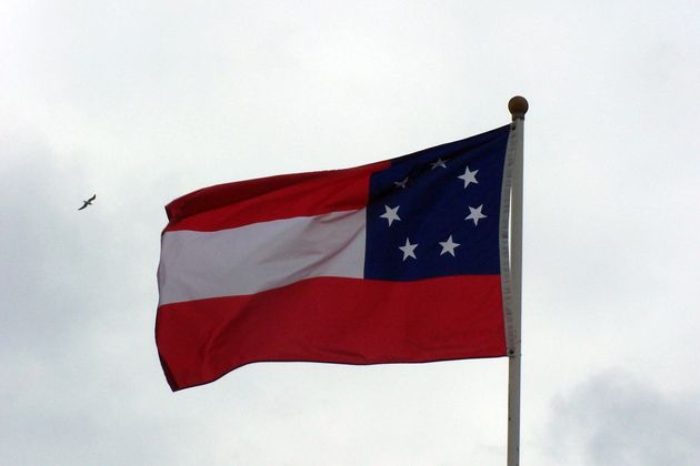 The first national flag of the Confederacy, seven-star version. This image does not depict the flag flying...