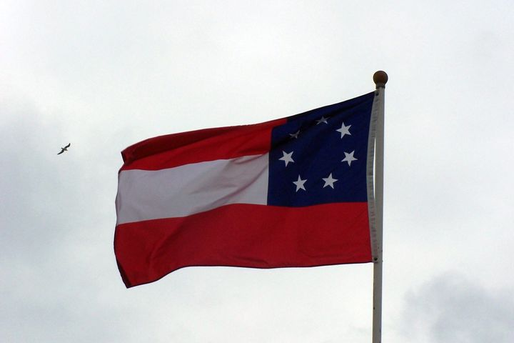 <p>The first national flag of the Confederacy, seven-star version. This image does not depict the flag flying on the Walton County Courthouse grounds.</p>