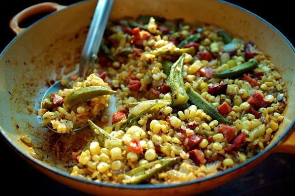 "<strong>Get the <a href=""http://food52.com/recipes/23847-okra-and-sweet-corn-purloo"" target=""_blank"">Okra and Sweet Corn Purl"