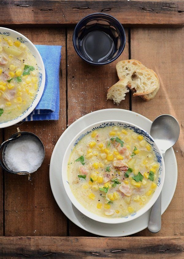 "<strong>Get the <a href=""http://www.versesfrommykitchen.com/2011/09/sweetcorn-bacon-soup.html"" target=""_blank"">Sweetcorn & Ba"
