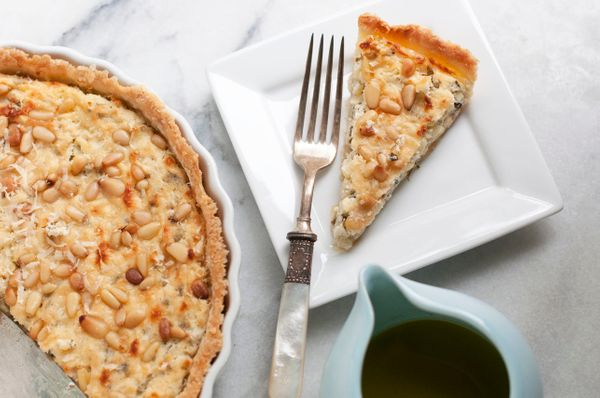 "<strong>Get the <a href=""http://food52.com/recipes/5629-corn-goat-cheese-basil-and-lemon-tart-with-basil-and-lemon-oil"" targe"