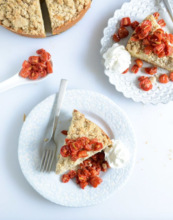 "<strong>Get the <a href=""http://www.howsweeteats.com/2014/06/vanilla-cornmeal-crumb-cake-with-candied-cherry-tomatoes/"" targe"