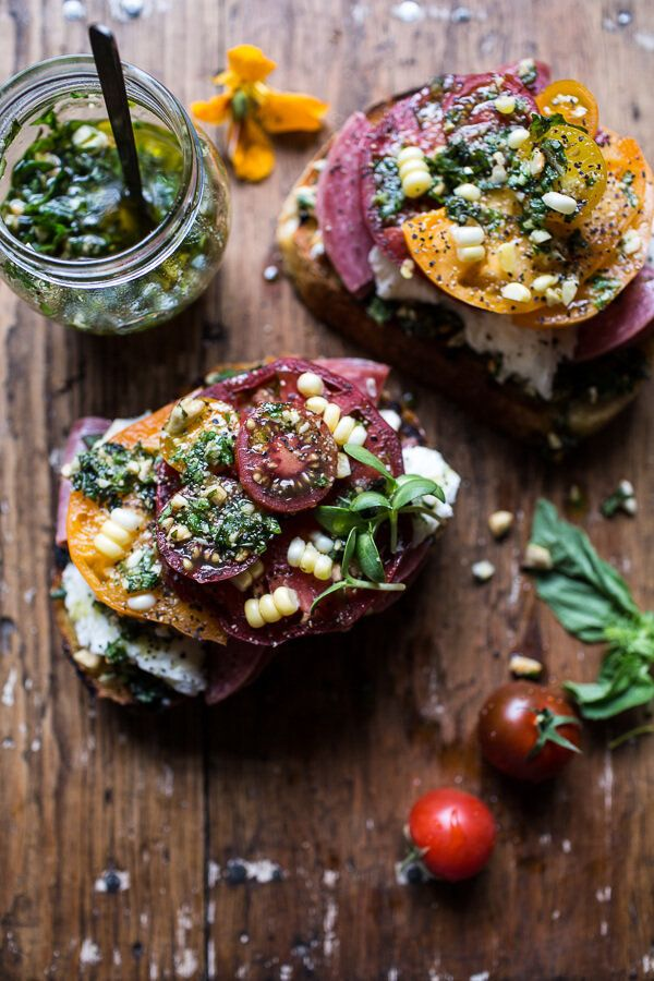 "<strong>Get the <a href=""http://www.halfbakedharvest.com/tomato-salami-and-chunky-arugula-basil-pesto-bruschetta/"">Tomato, Sa"