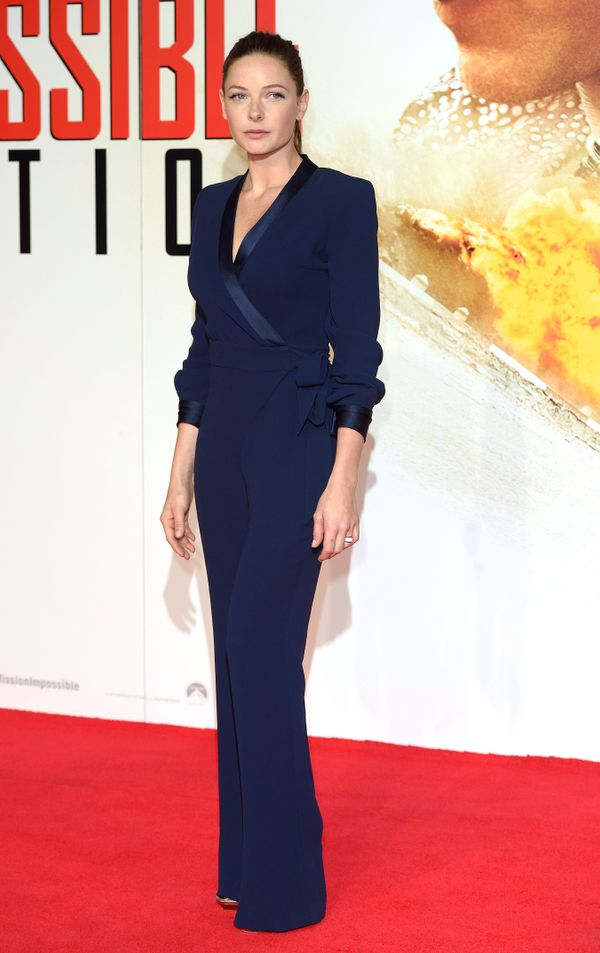 <strong>Rebecca Ferguson in Diane von Furstenberg:</strong> Now this is an interesting take on a jumpsuit. The wrap style is