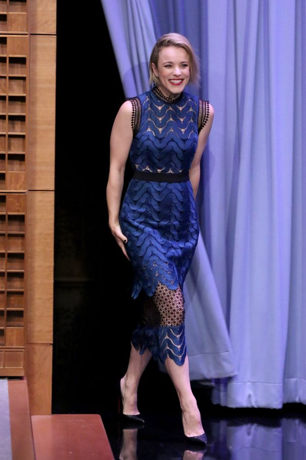 <strong>Rachel McAdams in Self-Portrait: </strong> This dress is really something special with all the intricate sheer insert