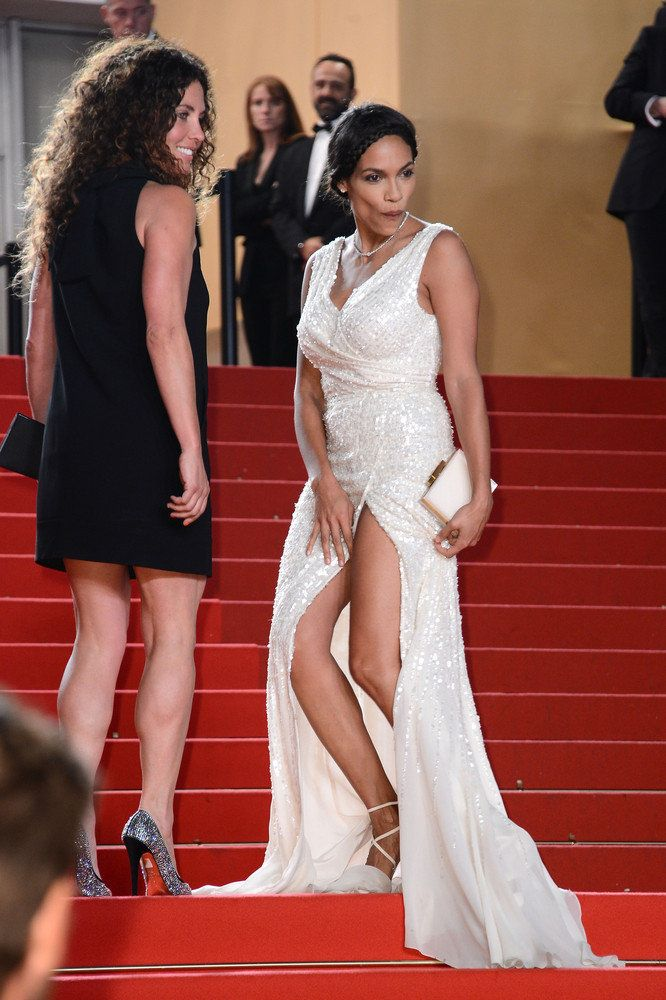 The actress looked hot in a thigh-high slit dress at the Cannes Film Festival but a gust of wind threatened to expose her pri