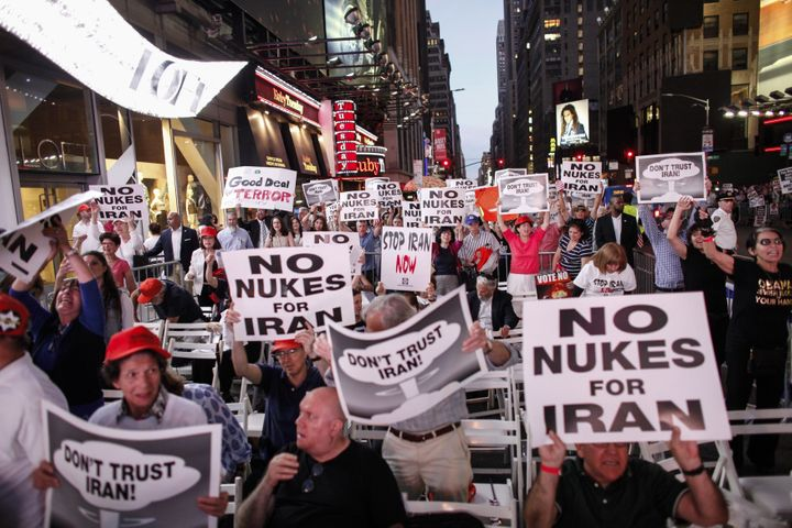 Critics of the Iran deal protest in New York City's Time Square