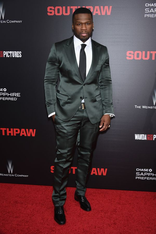 """The rappershines bright on the red carpet atthe""""Southpaw"""" premiere in NYC."""