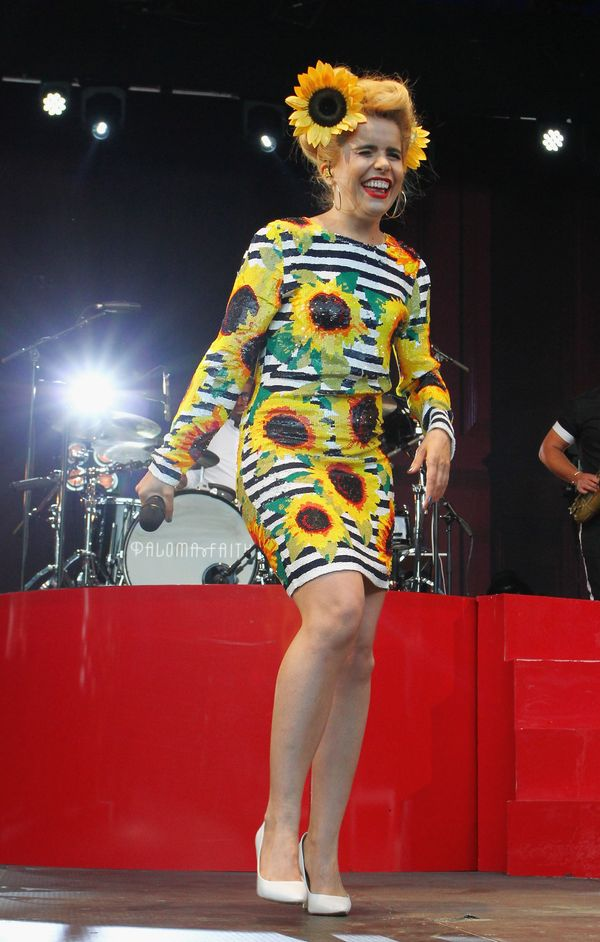 The singer brightens up the stage during a performance in Dublin.